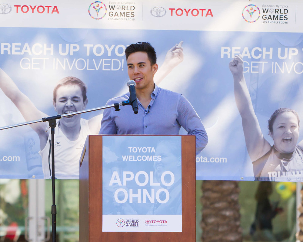 Olympian Apolo Ohno speaks at Toyota Special Olympics event