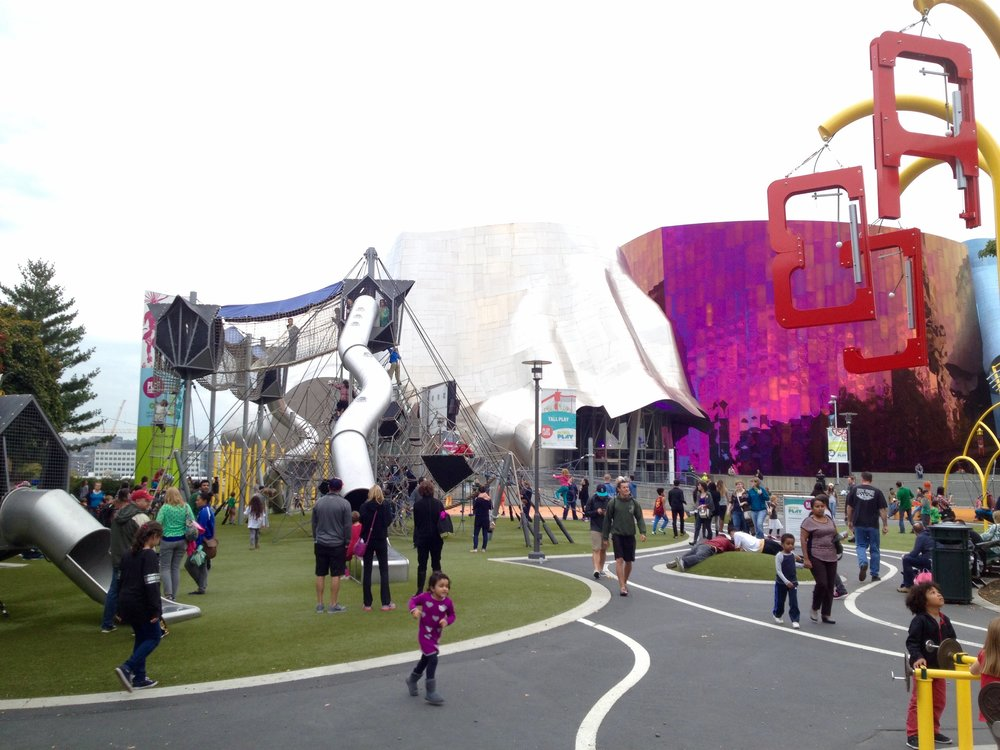 The FREE playground outside   Museum of Pop Culture   at the base of the Space Needle is epic for kids and adults, alike. And the heights are not for the faint of heart.