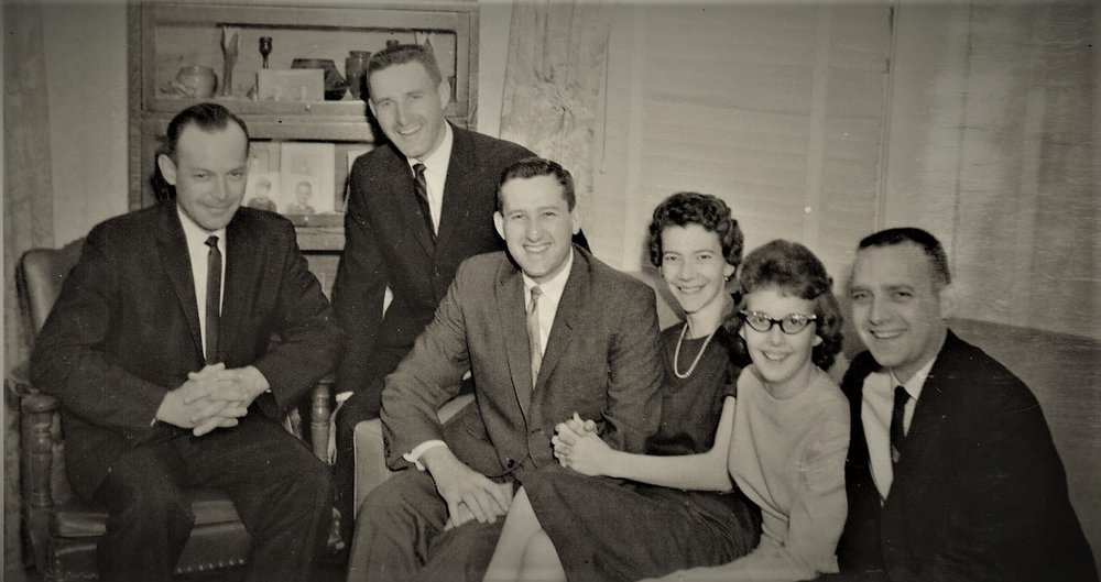 First cousins at their grandfather, Fred Bemis' funeral, Hays, Kansas, May 1963. (L-R) Tom Bemis, Guy Bemis, Perry Bemis, Geri Ordway (my mom at 28), Linda Ordway and Bob Ordway.