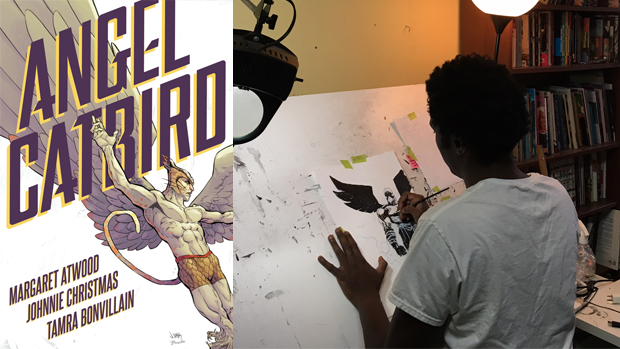 Left: Cover of Angel Catbird. Right: Johnnie Christmas works in his studio.