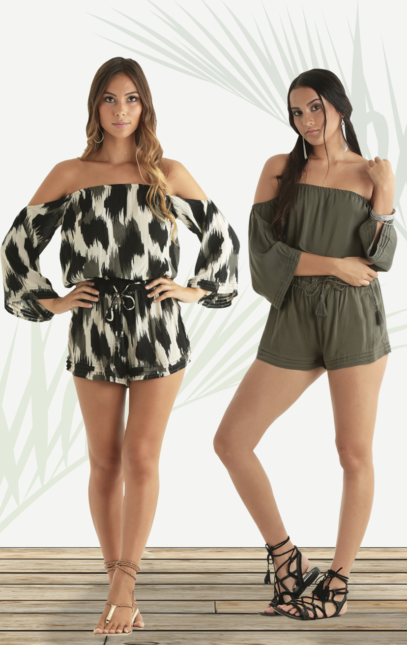 ROMPER AMOUR 3/4 slv off shoulder romper, drawstring lace waistband RAYON VOIL | XS-S-M-L