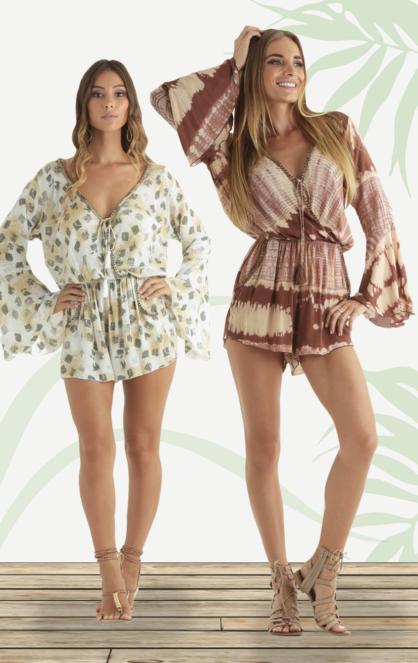 ROMPER KAIA Drop-waist, front wrap bell-slv romper w/ beaded neckline      RAYON VOIL | XS-S-M-L