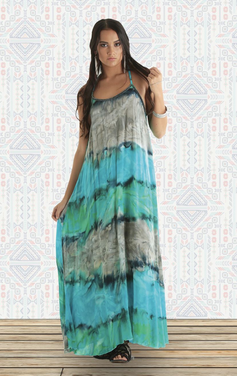 DRESS GODDNESS Spaguetti beaded strap, racer back maxi dress RAYON VOIL | XS-S-M-L