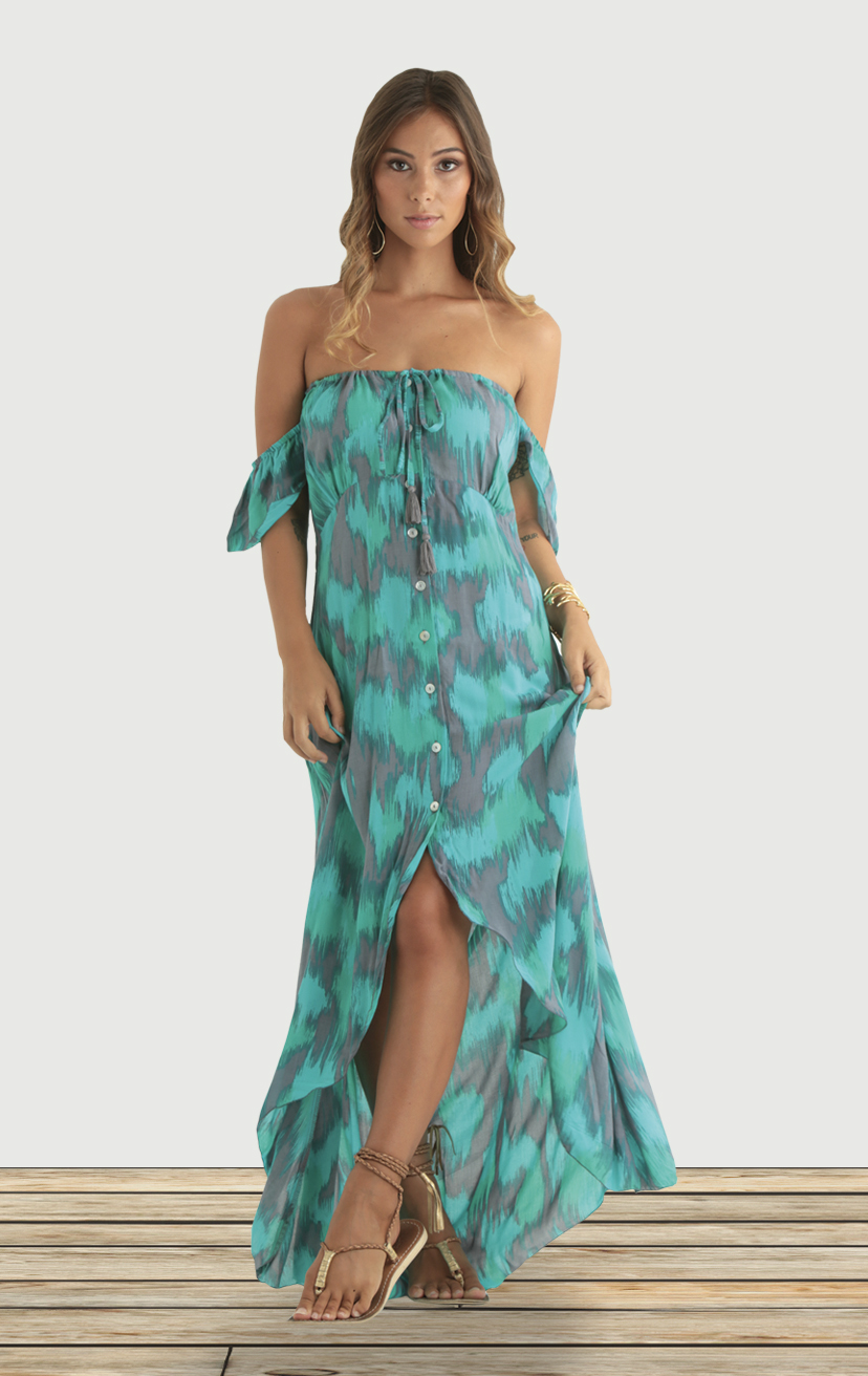 DRESS GLOW Off-shoulder, cap-slv, strapless maxi, high-low round bottom , button front RAYON VOIL | XS-S-M-L