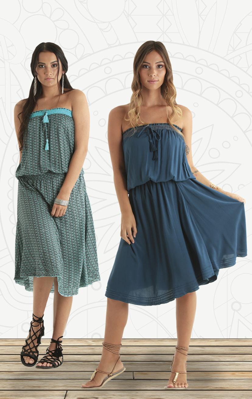 DRESS SUNDARA Strapless top lace drop-waist mid dress w/ pleated hem                                                                       RAYON VOIL | XS-S-M-L