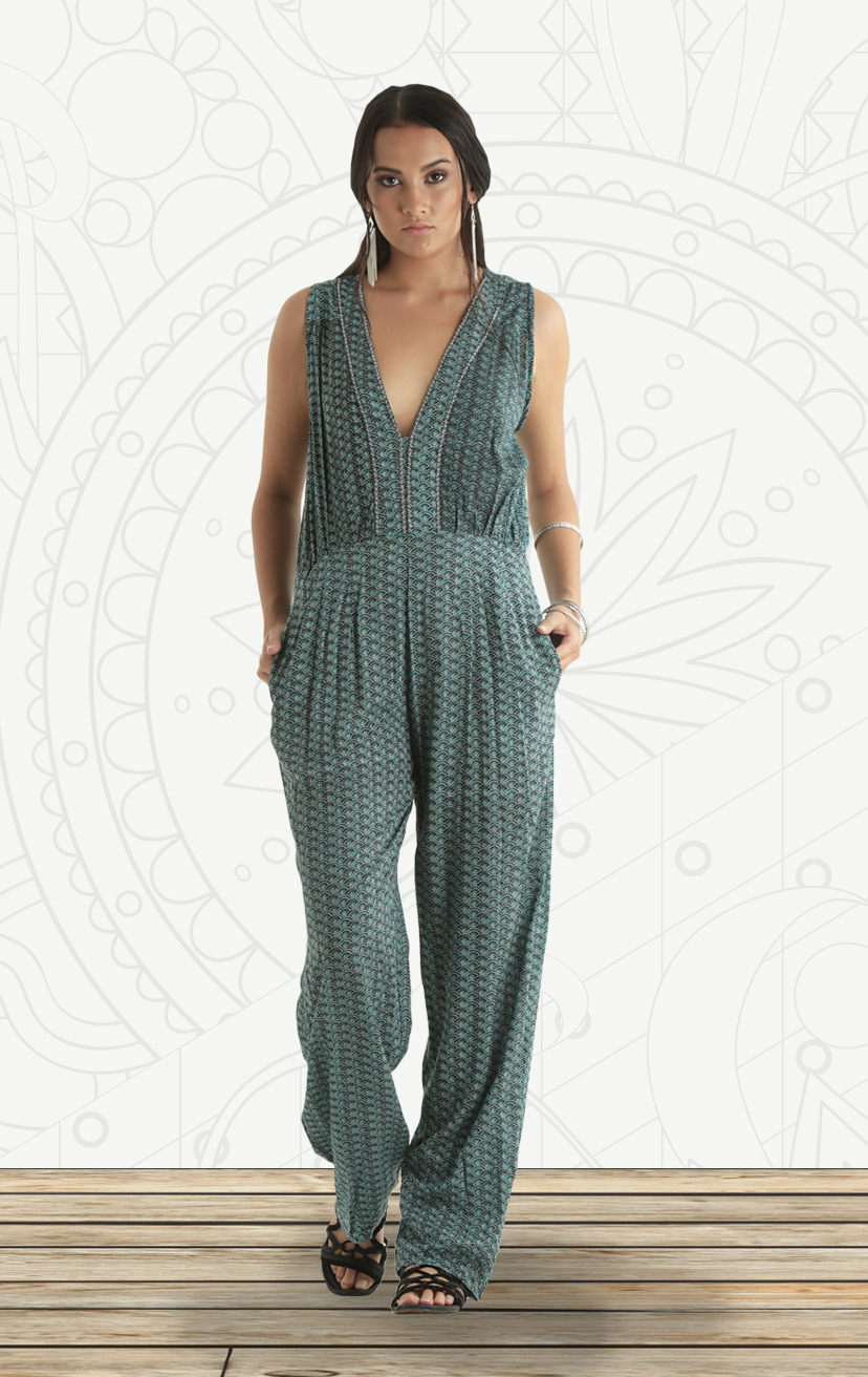JUMPSUIT HARPER   Deep beaded v-neck, tie front sleeveless a-line jumpsuit, front pockets  RAYON VOIL | XS-S-M-L