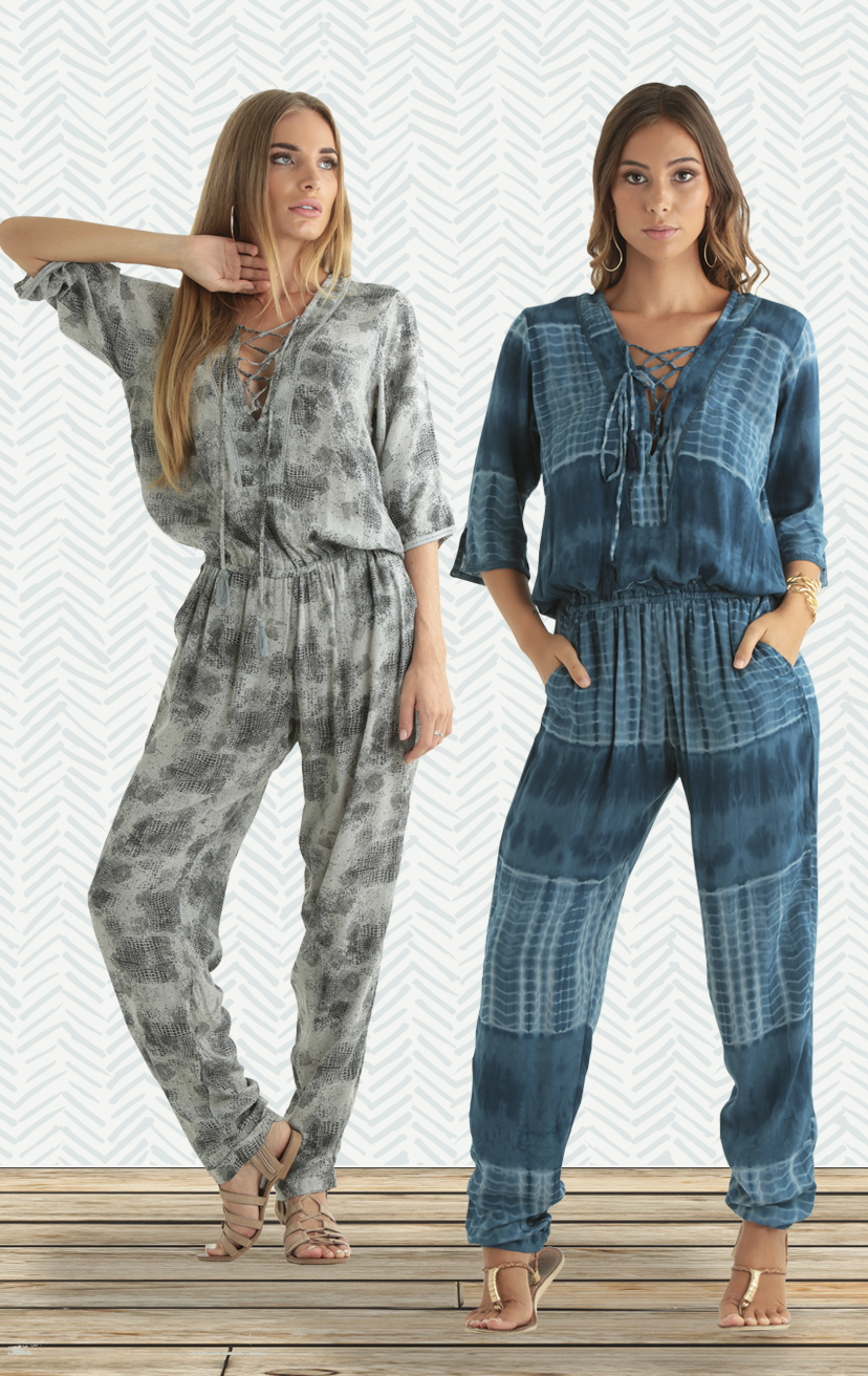 JUMPSUIT PANAMA 3/4 slv lace-up front jumpsuit w/ cuffled ankles, front lace trim, pockets RAYON VOIL | XS-S-M-L