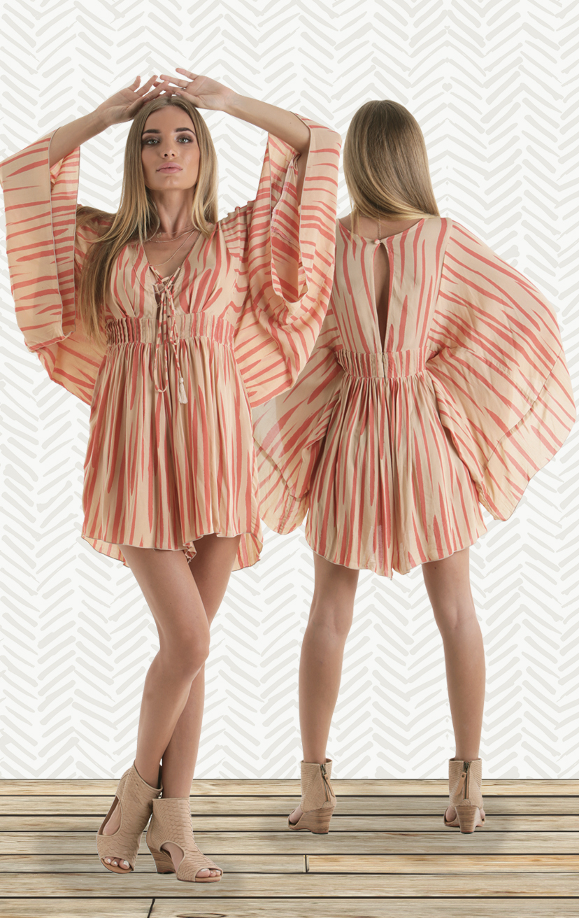ROMPER DREAMY Angel wing, empire waist, lace up front dress, button back closure  RAYON VOIL | XS-S-M-L