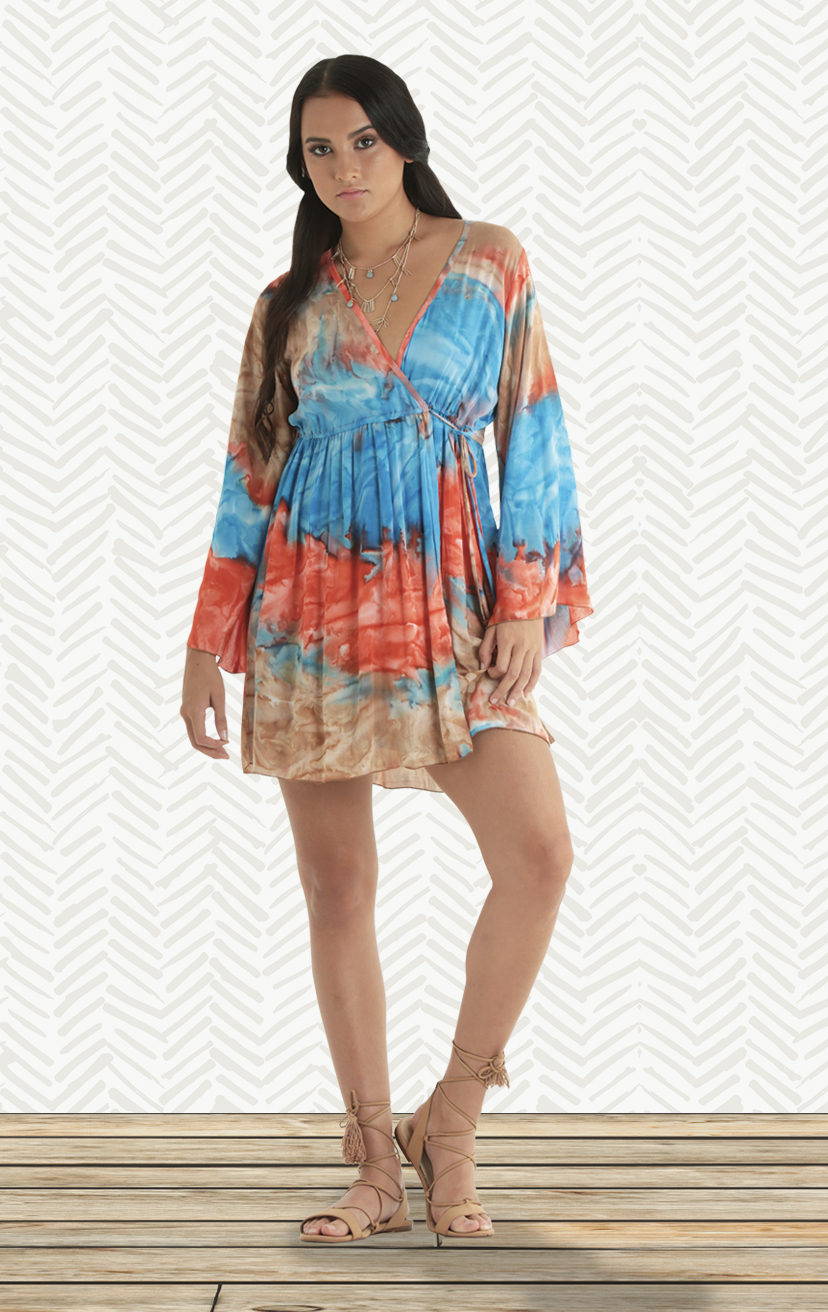DRESS PACIFIC Bell slv, empire waist, deep-v surplice front dress                          RAYON VOIL | XS-S-M-L