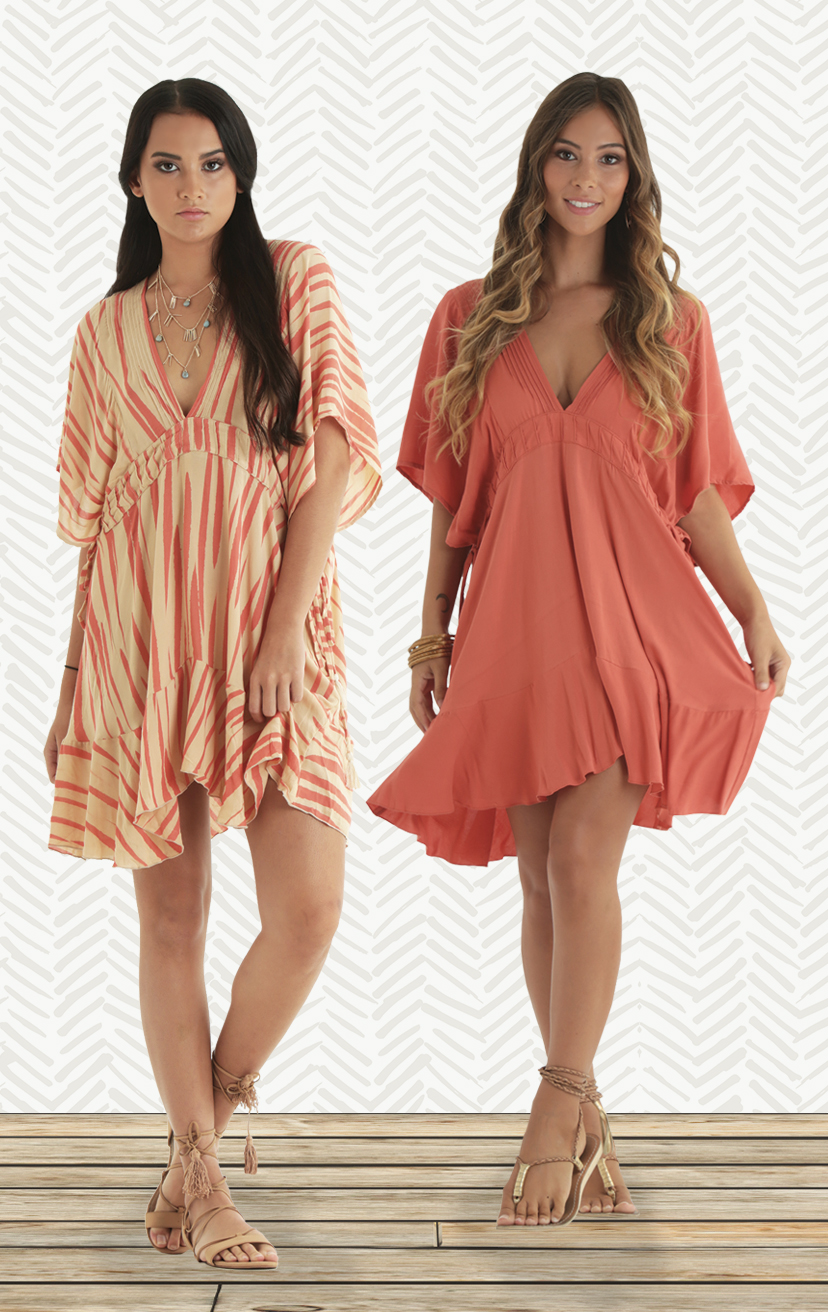 COVER-UP BIRDIE   Flutter-slv deep-v front & back tunic w/ pleated detail bottom ruffle  RAYON VOIL | XS-S-M-L