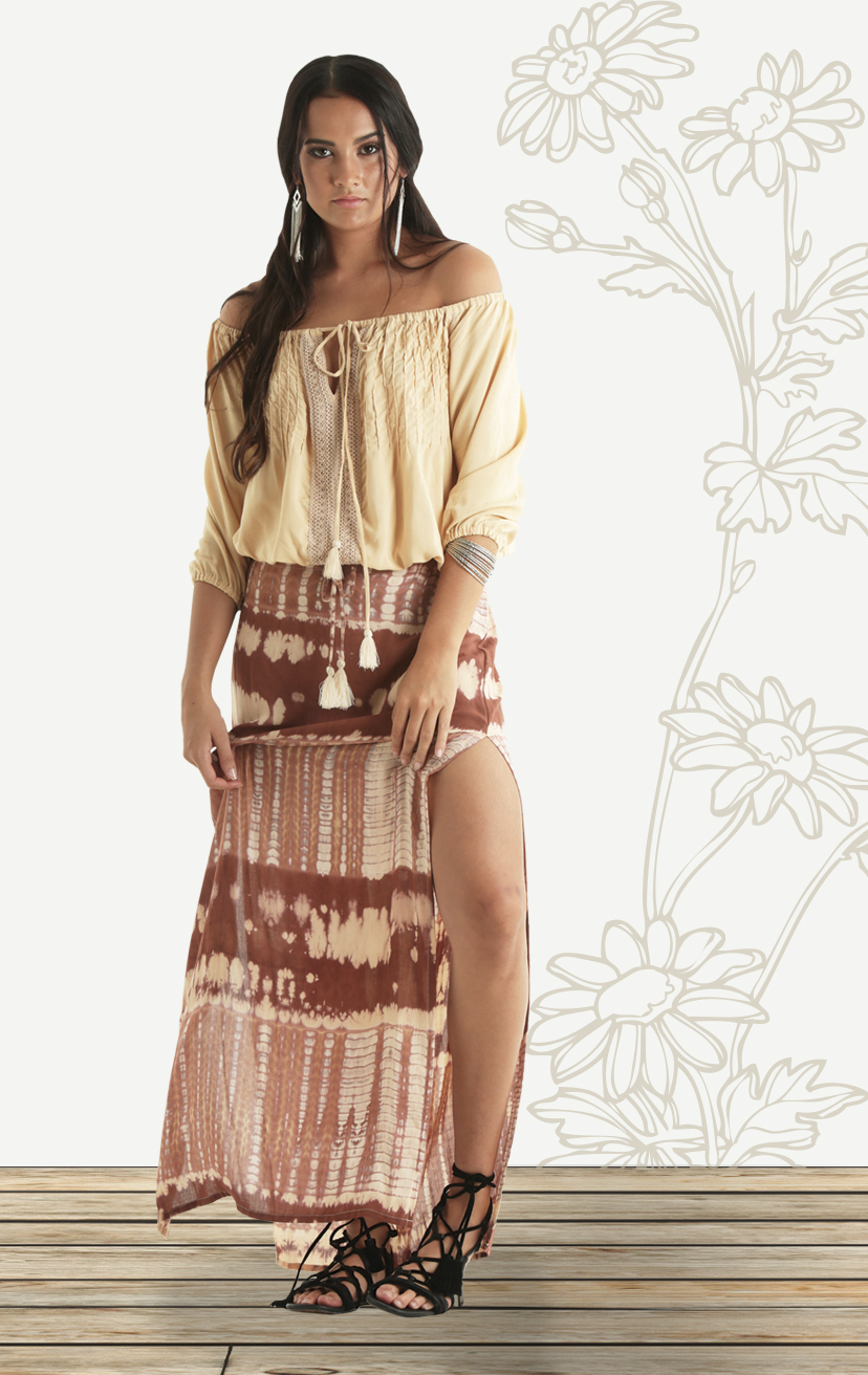 TOP BLUSH   Off shoulder 3/4 slv, bubble top w/ heyhole drawstring tie, front lace  RAYON VOIL | XS-S-M-L  –   SKIRT INDIANA   Drawstring elastic waist maxi skirt w/ deep side-slits  RAYON VOIL | XS-S-M-L