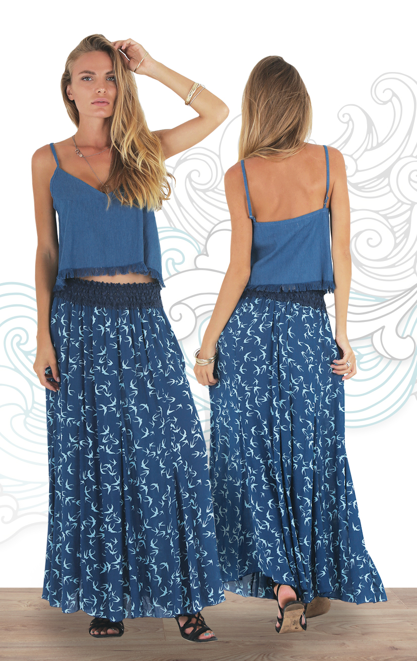 TOP CASHEW Spaghetti strap mid length denim top with bottom fringe   COTTON DENIM | XS-S-M-L   SKIRT EMERALD Long skirt with crochet waist detail RAYON VOILE | XS-S-M-L