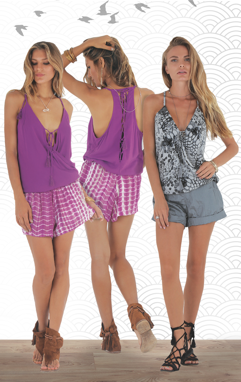TOP JADORE Spaghetti strap racer tie back, surplice front, w/ pom pom ties top RAYON VOILE | XS-S-M-L –    SHORTS BAIK Smocked waist shorts, w/ front pockets RAYON VOILE | XS-S-M-L