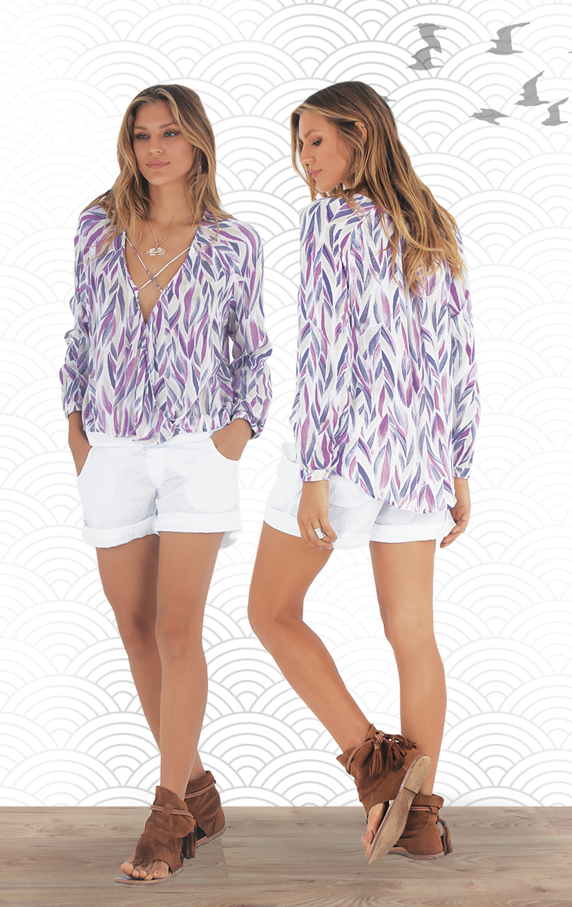 TOP SHINE L/s deep v-top w/ criss cross front straps, front tucked pleated panels RAYON VOILE | XS-S-M-L –    SHORTS ZANZIBAR Fold waistband shorts, front pockets, cuffed hem 100%  NYLON | XS-S-M-L