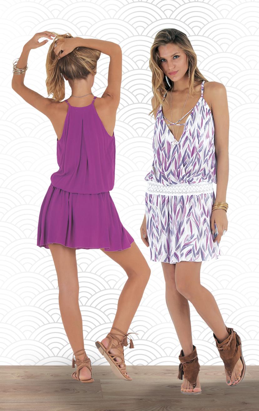 DRESS COASTLINE   Front wrap topw/ criss cross front straps short dress w/ waist lace detail    RAYON VOILE | XS-S-M-L