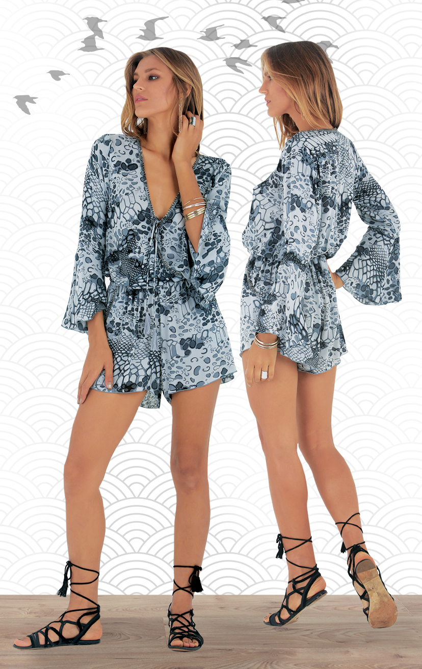 ROMPER KAIA Drop-waist, front wrap bell-slv romper w/ beaded neckline RAYON VOILE | XS-S-M-L