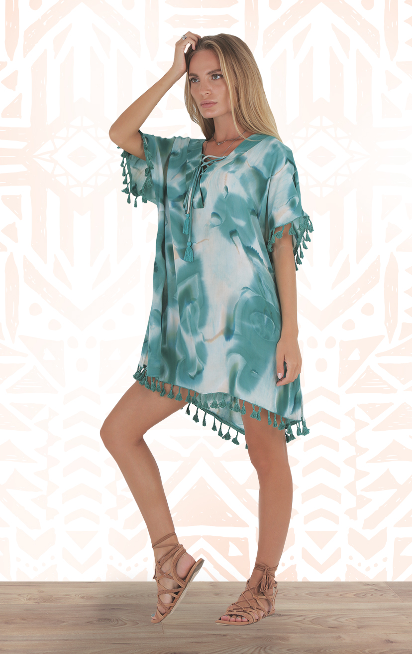 COVER-UP ETHNIC Caftan-style tunic tie front dress w/ pom pom edging RAYON VOILE | XS-S-M-L