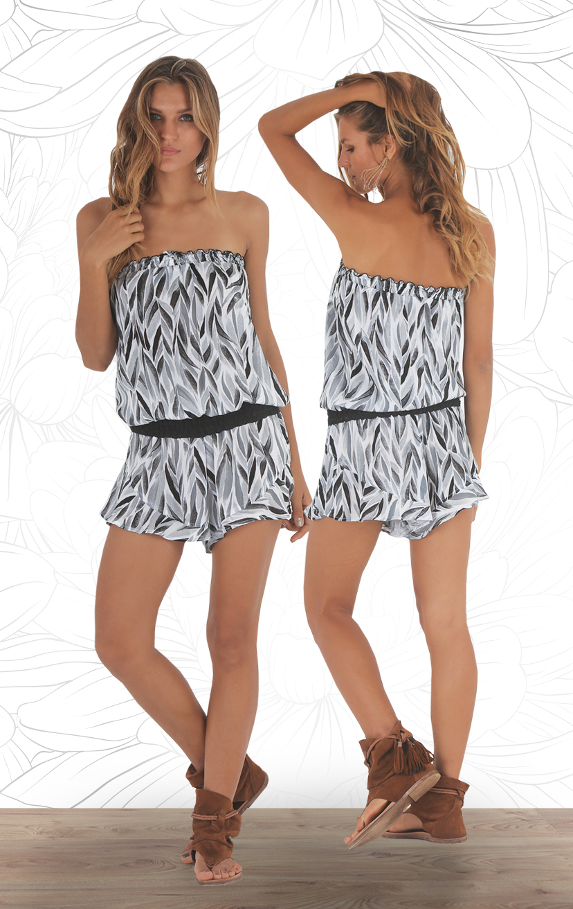 ROMPER CHANNEL Strapless w/ pom pom ties, elastic lace waistband romper RAYON VOILE | XS-S-M-L
