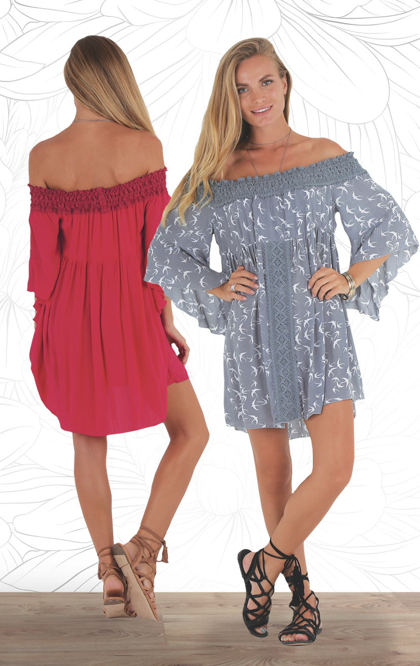 DRESS NISHA Off shoulder swing short dress, 3/4 slvs, w/ lace detail on off shoulder & center top RAYON VOILE | XS-S-M-L