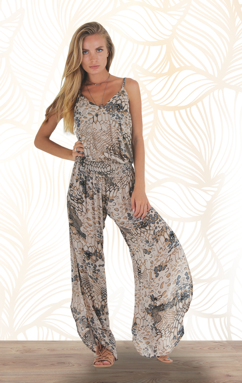 JUMPSUIT SHIFT Spaghetti strap, drop waist jumpsuit, alluring slits down the sides RAYON VOILE | XS-S-M-L