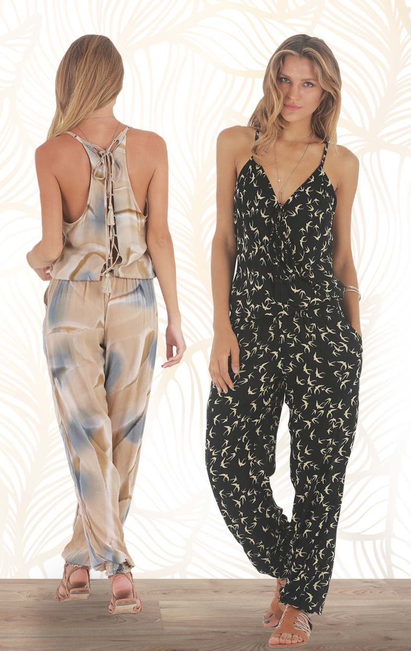 JUMPSUIT BRAWA Spaghetti strap racer tie back surplice front w/pom pom ties jumpsuit RAYON VOILE | XS-S-M-L