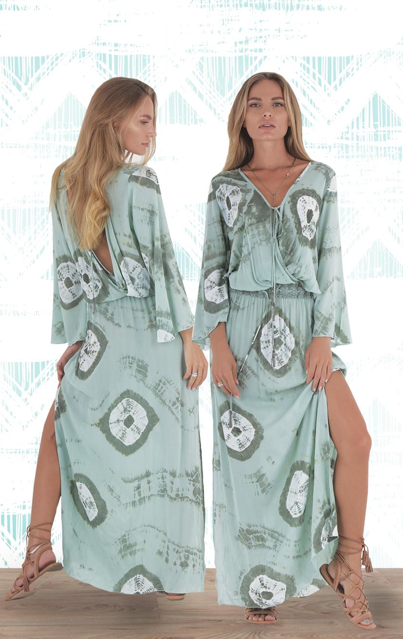 DRESS STARLIGHT   3/4 bell slvs mazi dropo waist surplice front & back dress  RAYON VOILE| XS-S-M-L