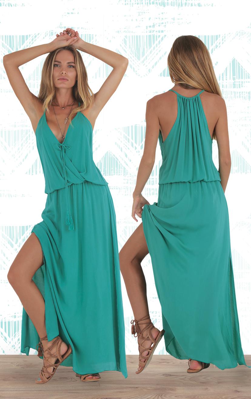 DRESS SUNSTAR   Front surplice dress w/ side slit, front pom pom ties, racerback     RAYON VOILE | XS-S-M-L