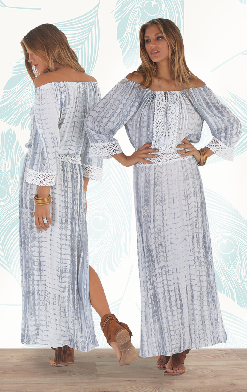 DRESS CARICOCA Off shoulder maxi dress, drop waist, side slits, lace detail on top, waist & cuff RAYON VOILE | XS, S/M, M/L
