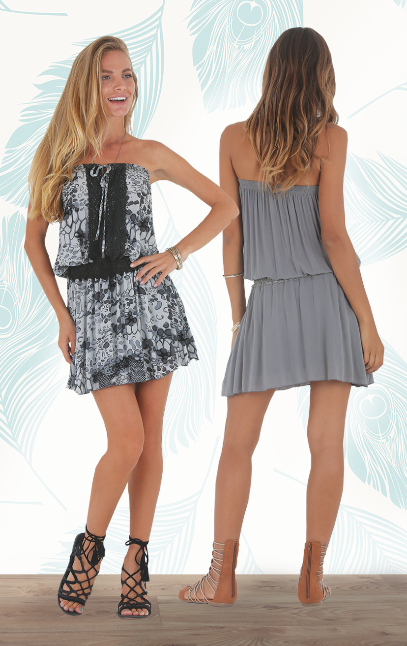 DRESS MOTION Strapless tie front short dress, double layered skirt, w/ waist & front lace detail RAYON VOILE | XS-S-M-L