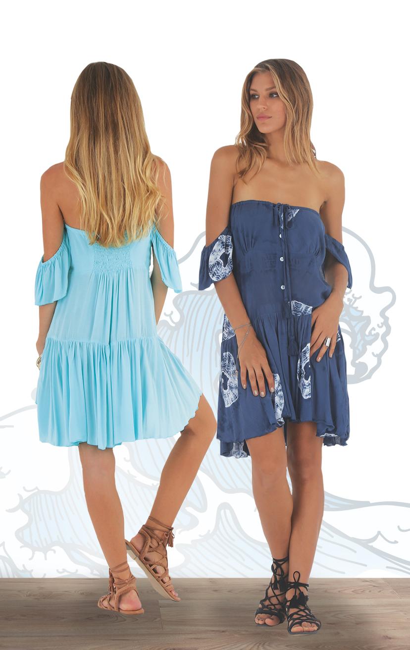 DRESS GLINT   Cap-slv off-shoulder button-front short dress  RAYON VOILE | XS-S-M-L