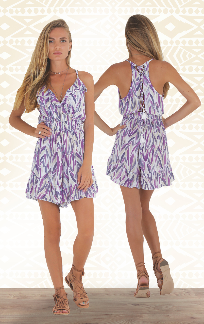 ROMPER STAGE Ruffle necklin & bottom hem, smocked under bust romper, racer lattice back                            RAYON VOILE | XS-S-M-L