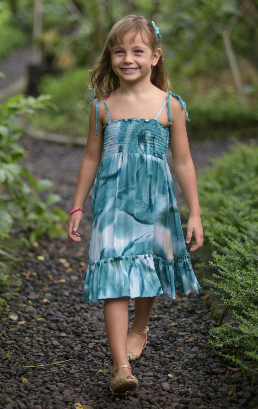 DRESS OLIVIA Spaghetti straps top smocked dress, w/ pom pom detail RAYON VOILE | 2/3 | 4/5 | 6/7 | 8/10