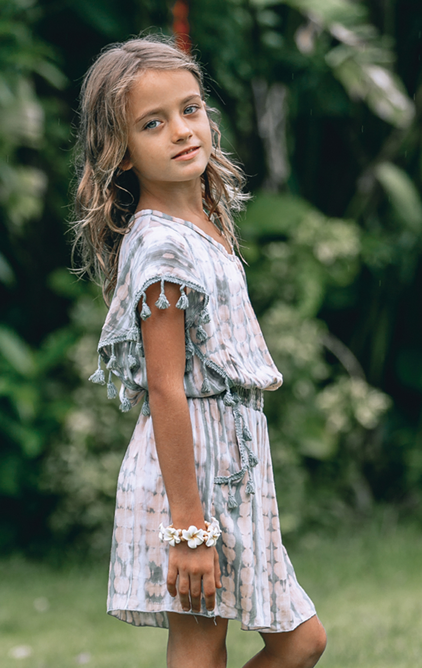 DRESS CHEERS S/s Flowy top dress, w/ pom pom slvs & front pockets edging, elastic waist  RAYON VOILE | 2/3 | 4/5 | 6/7 | 8/10