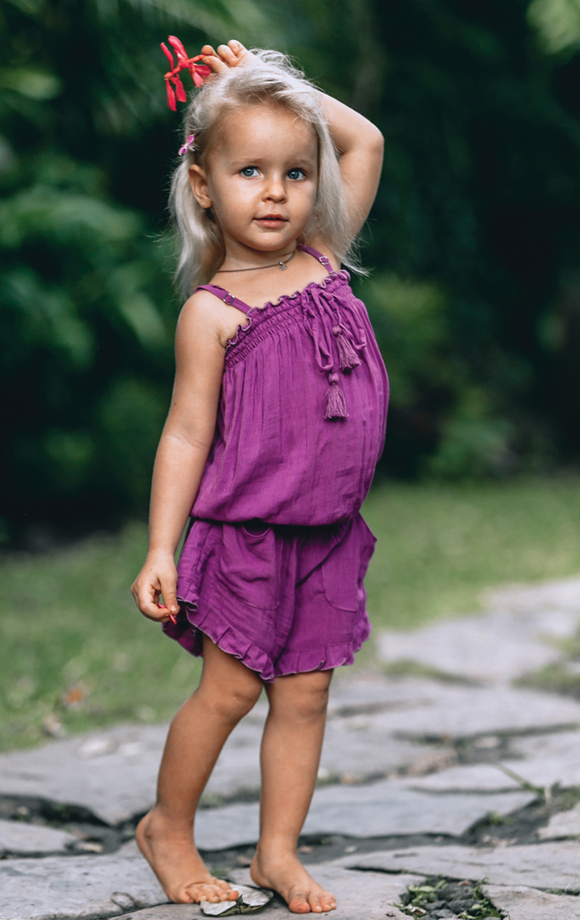 ROMPER BERRY Spaghetti-strap Romper, front pkts, elastic waist, pom pom ties RAYON VOILE | 2/3 | 4/5 | 6/7 | 8/10