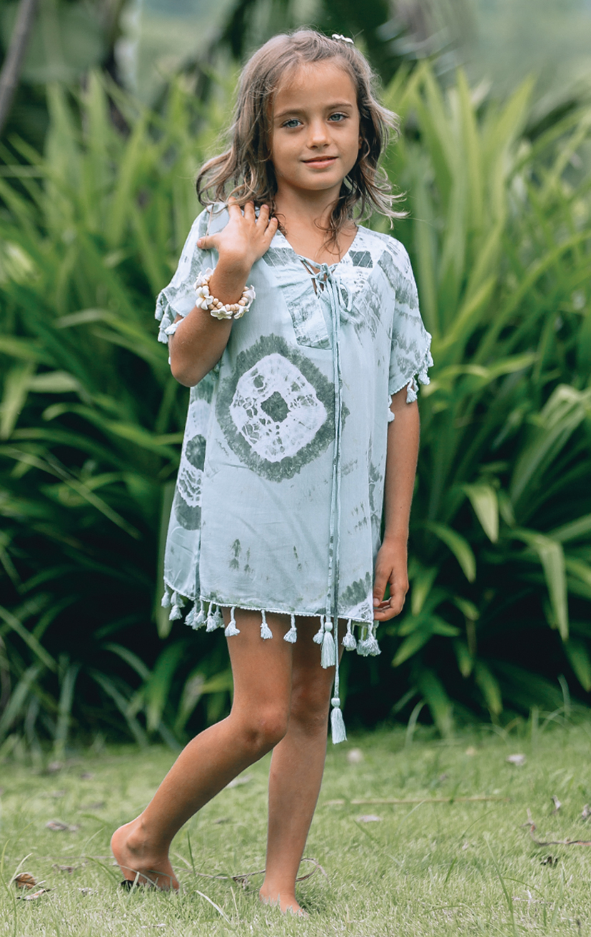 COVER-UP ETHNIC   Caftan-style tunic tie front dress w pom pom edging  RAYON VOILE | 2/3 | 4/5 | 6/7 | 8/10