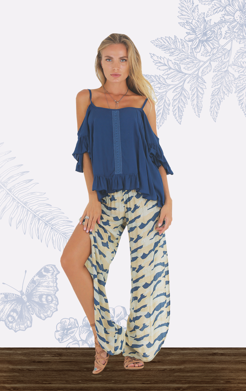 TOP DEMI Cold shoulder top, ruffle bottom & slvs, center front lace RAYON VOILE   XS-S-M-L – PANT STAR Smock-waist, slits down the sides pant RAYON VOILE   XS-S-M-L