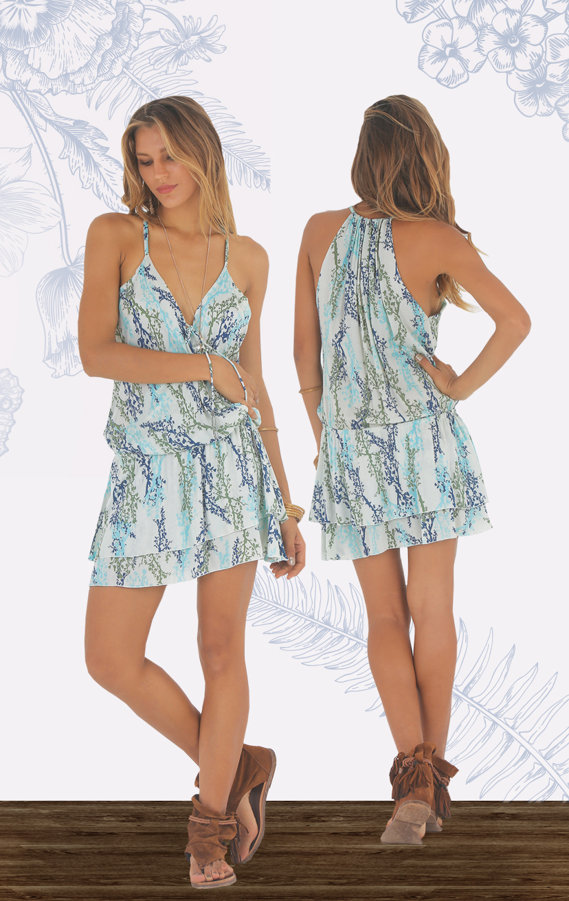 DRESS NICOLA Front suplice short dress w/ pompom ties, elastic waist, double layered skir RAYON VOILE   XS-S-M-L