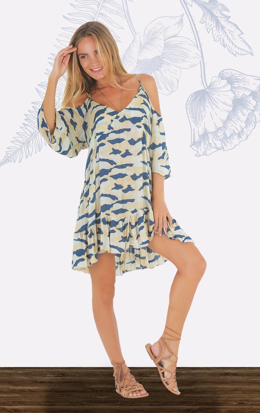 DRESS LEXI 3/4 slvs cold shoulder, w/ criss cross detail back, ruffled bottom short dress RAYON VOILE   XS-S-M-L