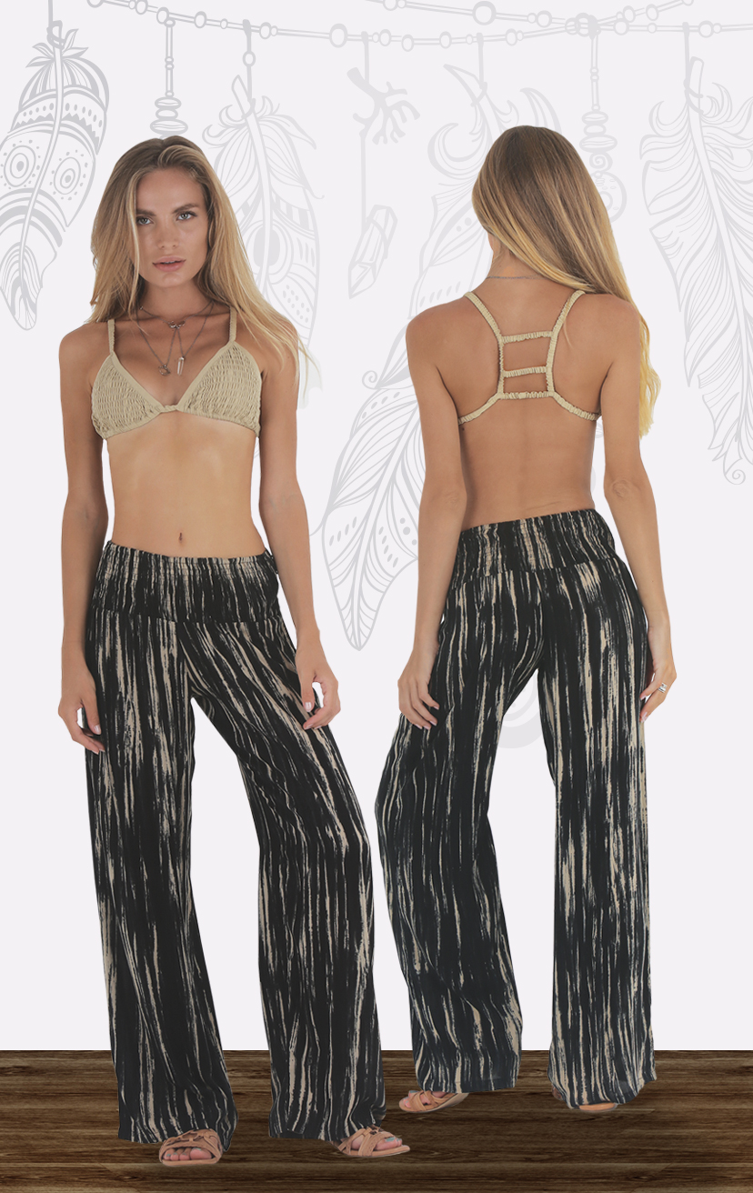 TOP AYU Top smocked bikini front with three tiered back detail RAYON VOILE   XS/S, M/L – PANT CHILLIN Smocked waist palazzo pant RAYON VOILE   XS-S-M-L