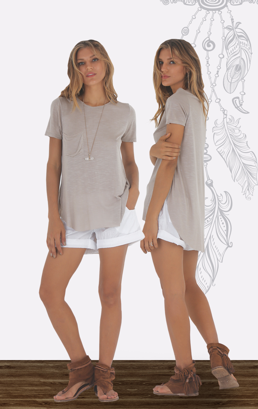 TOP MARLEE Easy fit crewneck tee, high low, deep curved hem, front single pocket KNIT RAYON SLUB   XS-S-M-L AVAILABLE ONLY in white, beige, coral, black – SHORTS ZANZIBAR Fold waistband shorts, front pockets, cuffed hem 100% NYLON   XS-S-M-L AVAILABLE ONLY in white, silver, black