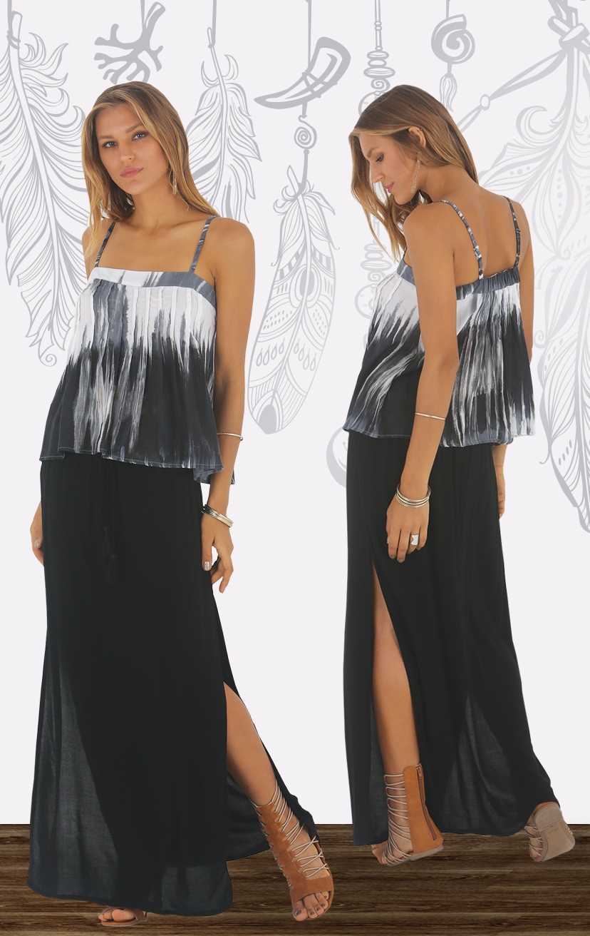 TOP ALYNA Spaghetti strap baby doll top, with pleat front detailA RAYON VOILE   XS-S-M-L – SKIRT IOLANI Long skirt, side slits, tie waist with pom pom RAYON VOILE   XS-S-M-L