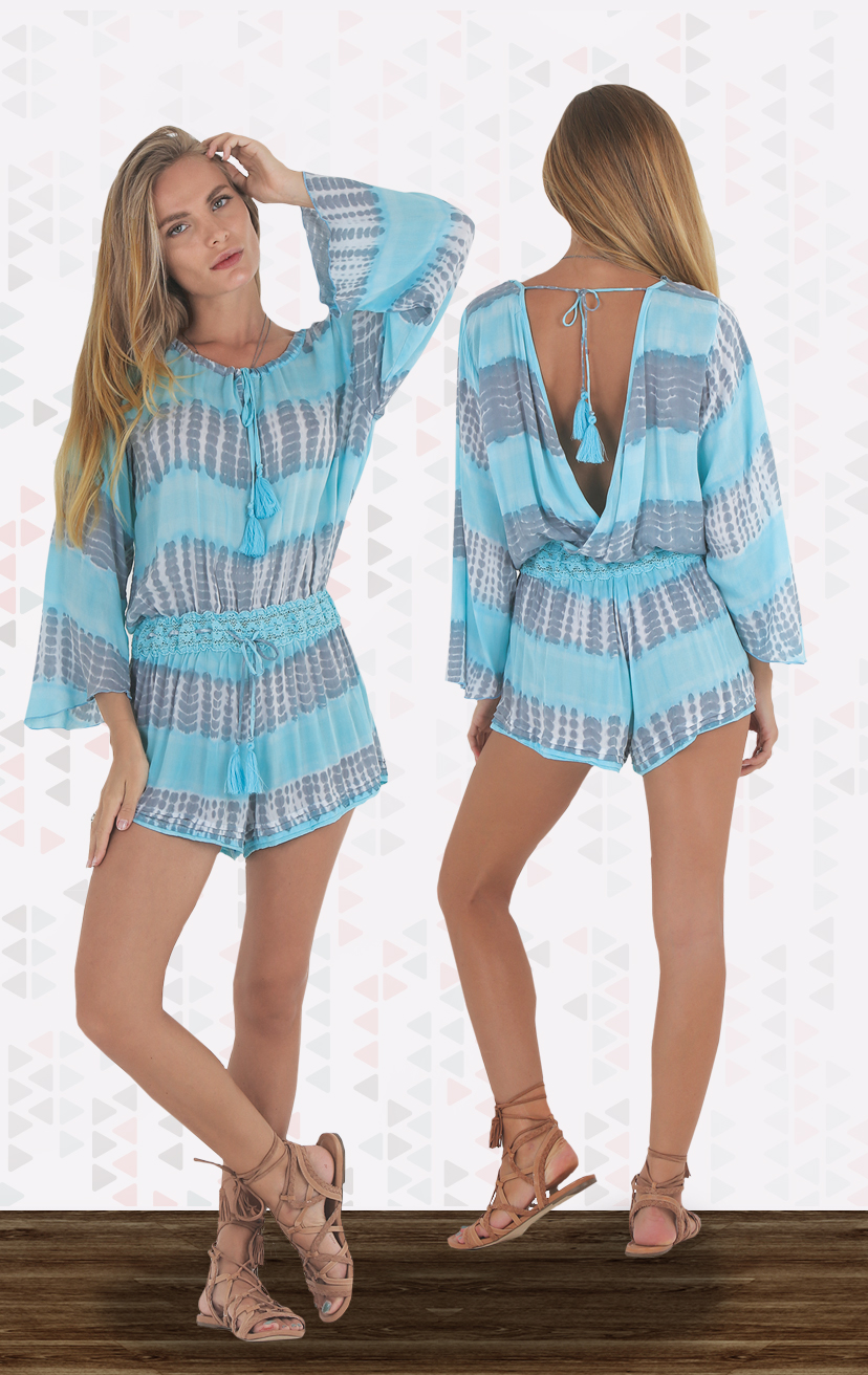 ROMPER BALIHAI    Open-back front tie bell-slv romper, w/ lace drawstring waistband                  RAYON VOILE | XS-S-M-L