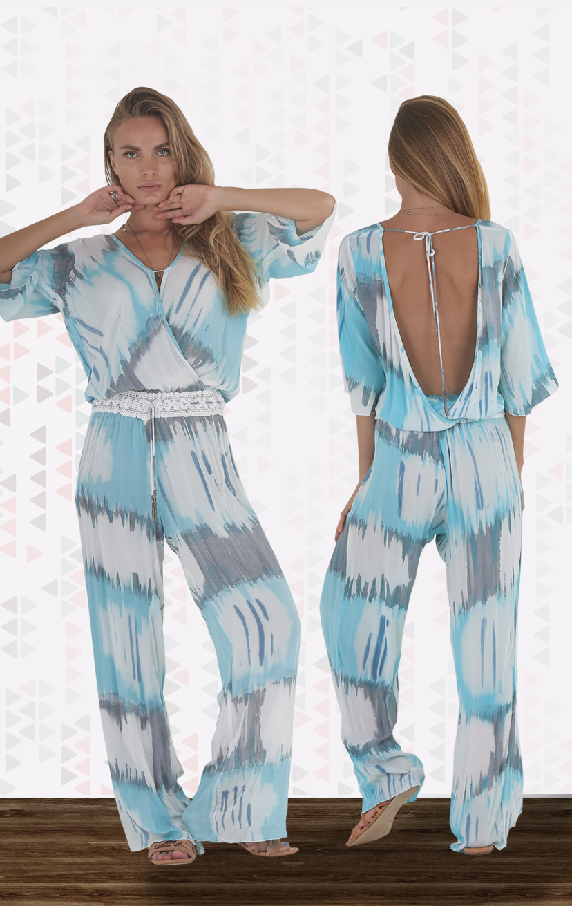 TOP SHINE Deep-v bodice bell-slv jumpsuit, drop waist, drawstring waistband RAYON VOILE   XS-S-M-L