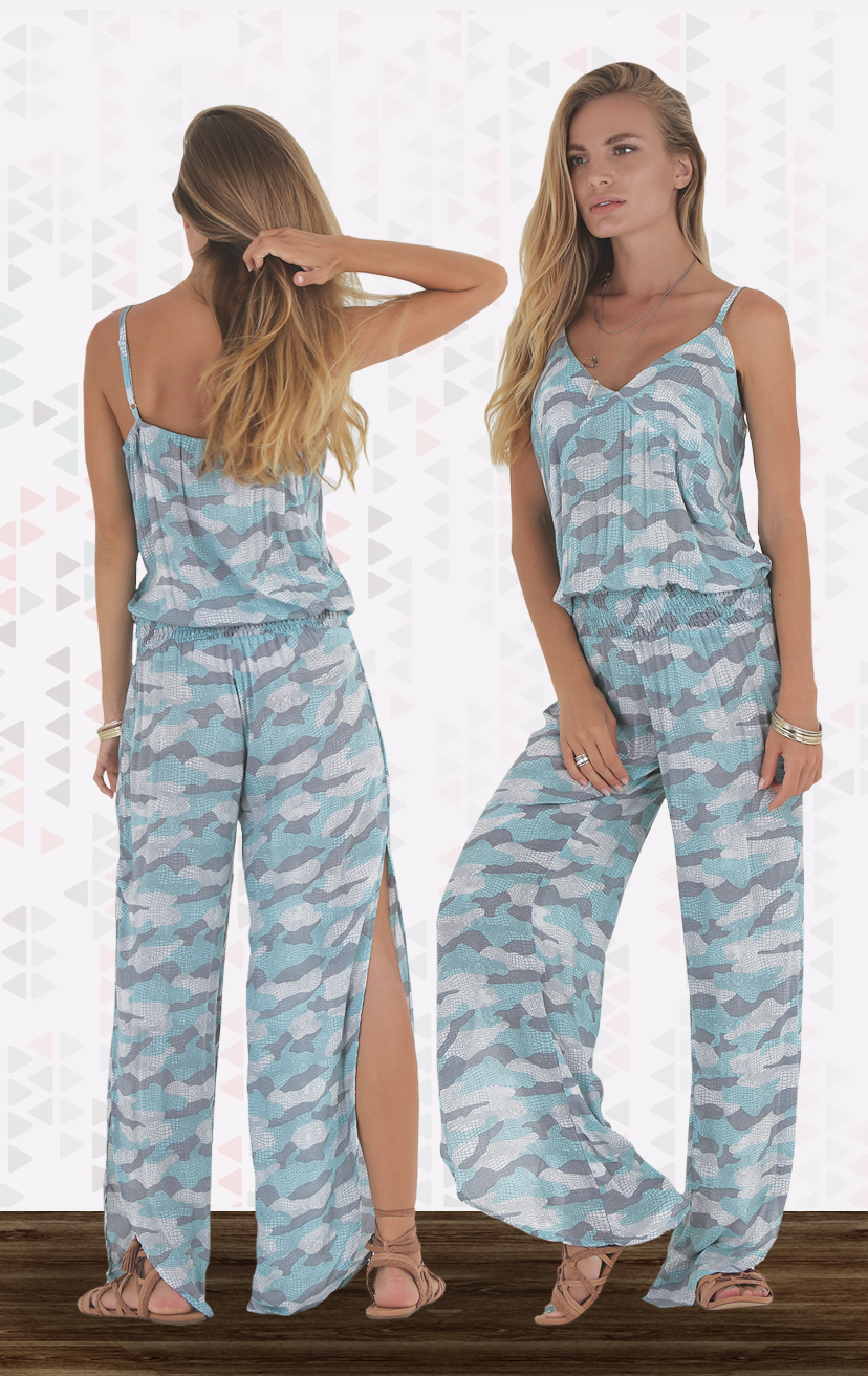 JUMPSUIT SHIFT Spaghetti strap, drop waist jumpsuit, alluring slits down thesides RAYON VOILE   XS-S-M-L