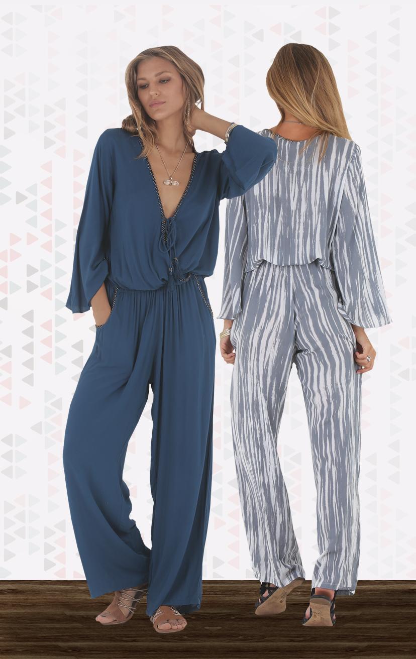 JUMPSUIT ZION Drop-waist, front wrap bell-slv jumpsuit w/ beaded neckline & pkts RAYON VOILE   XS-S-M-L