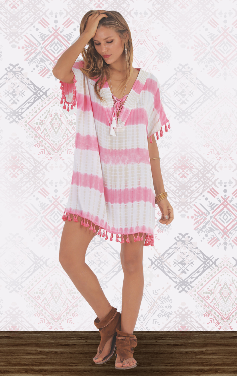 COVER-UP- ETHNIC Caftan-style tunic tie front dress w/ pom pom edging RAYON VOILE | XS-S-M-L