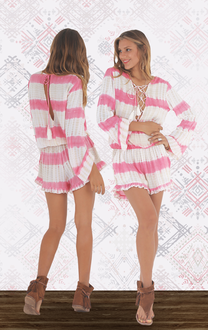 ROMPER CHANNEL L/s drop elastic waist romper, front lattice, side pkts, ruffle bottom shorts, open tie back RAYON VOILE | XS-S-M-L