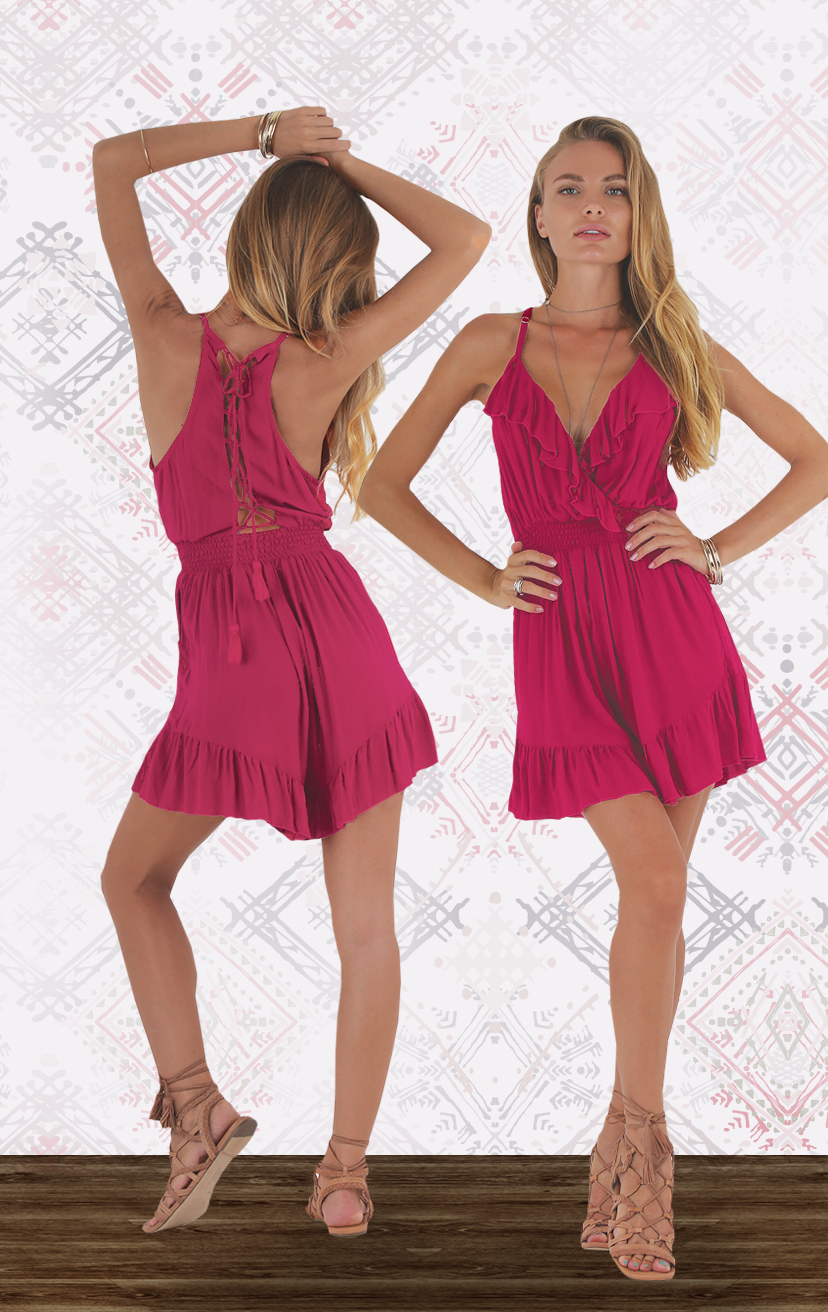ROMPER STAGE Ruffle neckline & bottom hem, smocked under bust romper, racer lattice back RAYON VOILE | XS-S-M-L