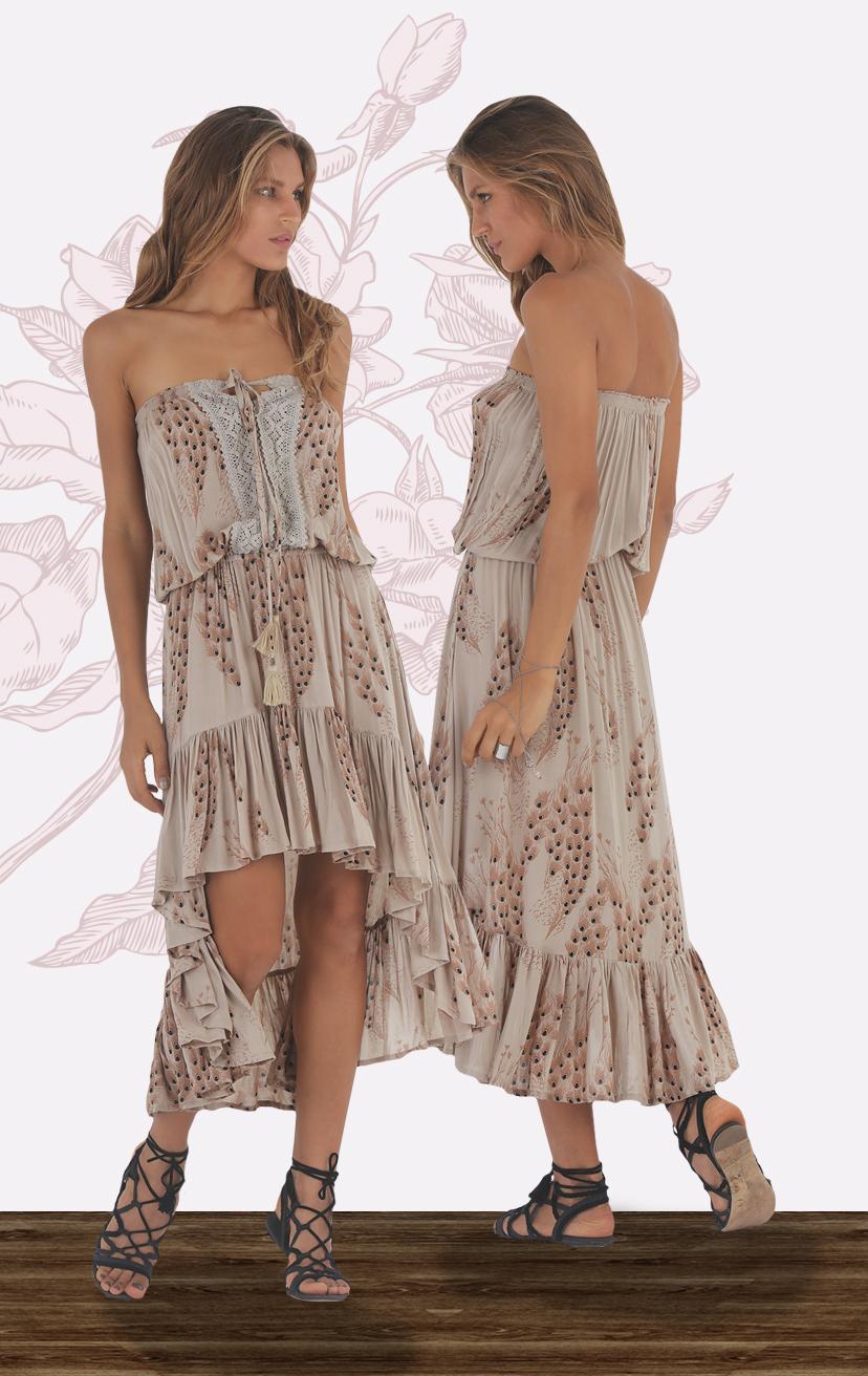 DRESS SAMBA Strapless high low dress, center top lace detail, bottom ruffle skirt RAYON VOILE   XS-S-M-L