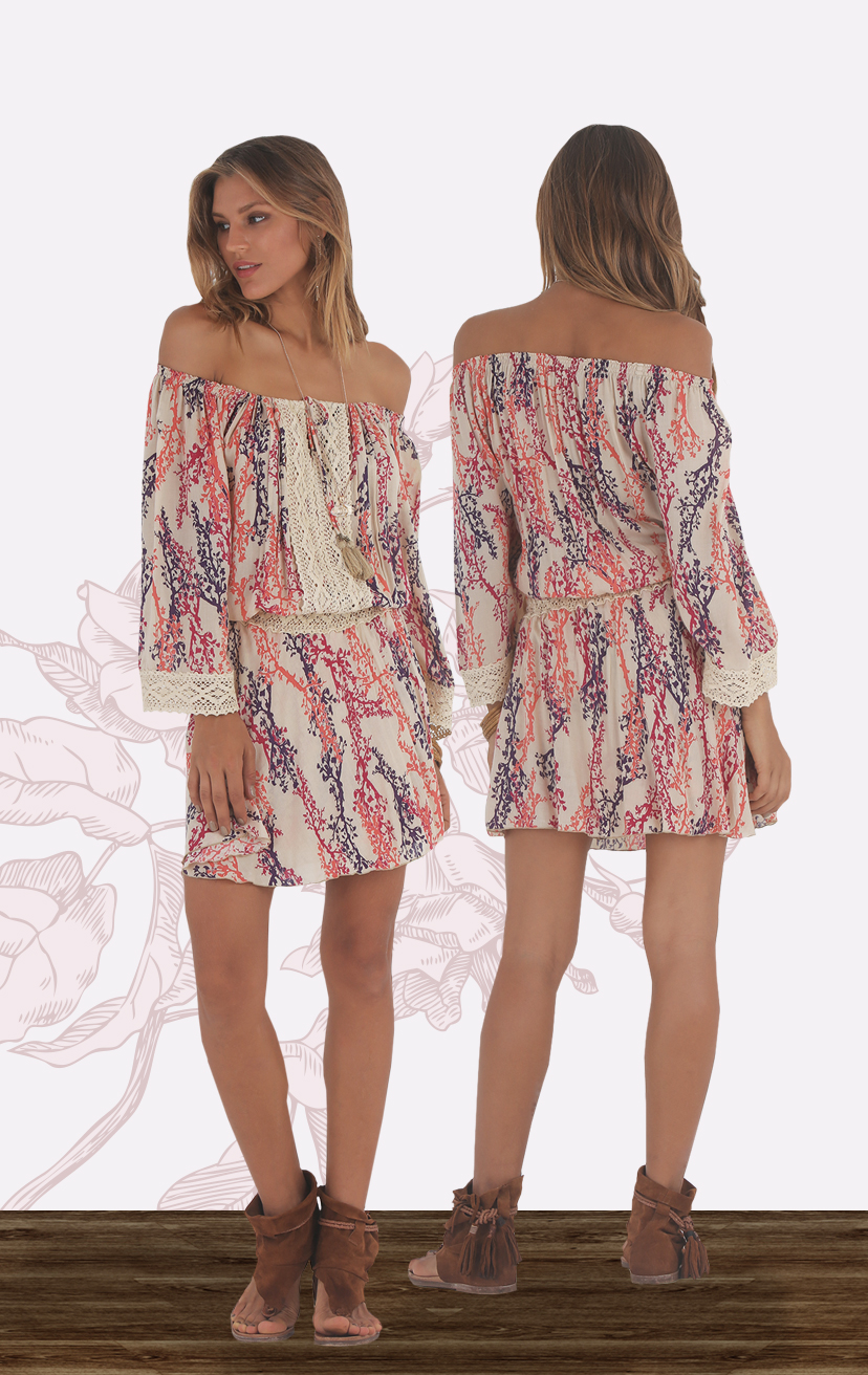 DRESS JOY Off shoulder short dress, doubled layer skirt, tie front, lace detail on top, waist & cuff RAYON VOILE   XS-S-M-L